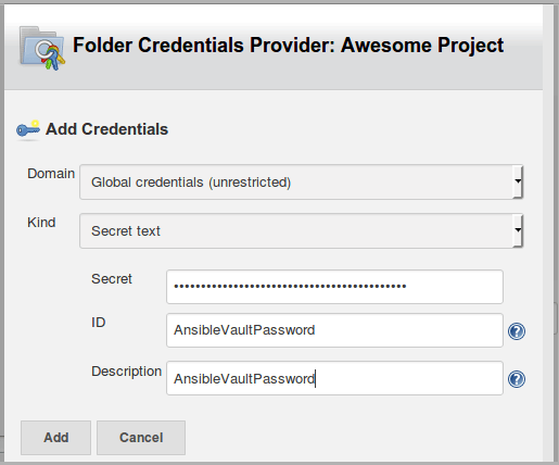 ansible vault jenkins new credentials