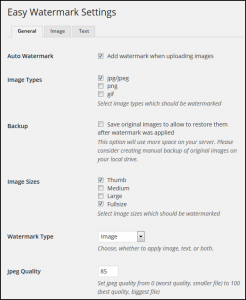How to Automatically Add Watermark using WordPress - Easy Watermark Settings General
