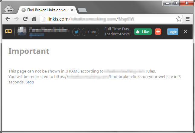 Stop iframe Content Theft - Example of Blocked website